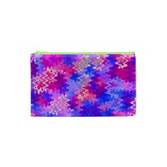 Pink and Purple Marble Waves Cosmetic Bag (XS)