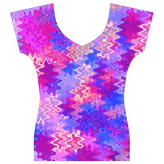 Pink and Purple Marble Waves Women s V-Neck Cap Sleeve Top