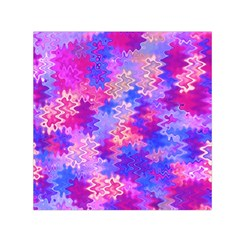 Pink And Purple Marble Waves Small Satin Scarf (square)