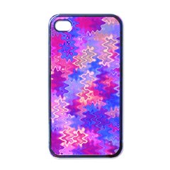 Pink and Purple Marble Waves Apple iPhone 4 Case (Black)