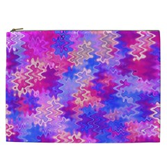 Pink and Purple Marble Waves Cosmetic Bag (XXL)