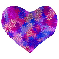 Pink And Purple Marble Waves Large 19  Premium Heart Shape Cushions