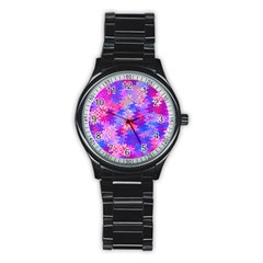 Pink and Purple Marble Waves Stainless Steel Round Watches