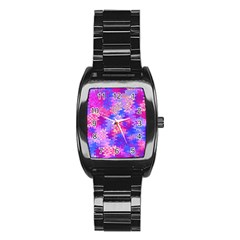 Pink and Purple Marble Waves Stainless Steel Barrel Watch