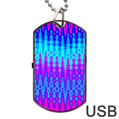 Melting Blues And Pinks Dog Tag Usb Flash (two Sides)