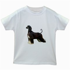 Afghan Hound Full Kids White T-Shirts