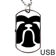 Bulldog Tribal Dog Tag USB Flash (Two Sides)
