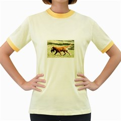 Chesapeake Bay Retriever Retrieving Women s Fitted Ringer T-Shirts