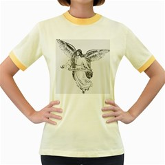 Angel Drawing Women s Fitted Ringer T-Shirts