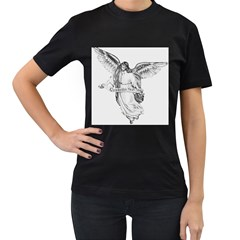 Angel Drawing Women s T-Shirt (Black) (Two Sided)