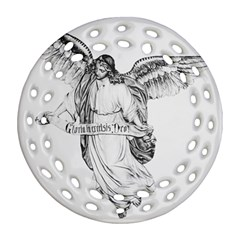 Angel Drawing Ornament (Round Filigree)