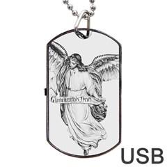 Angel Drawing Dog Tag USB Flash (One Side)
