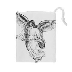Angel Drawing Drawstring Pouches (large)