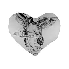 Angel Drawing Standard 16  Premium Flano Heart Shape Cushions
