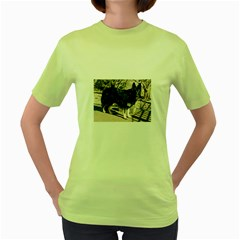Black German Shepherd Full Women s Green T-Shirt