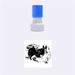 Black German Shepherd Full Rubber Round Stamps (Small)