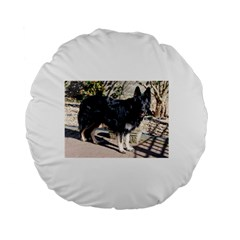 Black German Shepherd Full Standard 15  Premium Flano Round Cushions