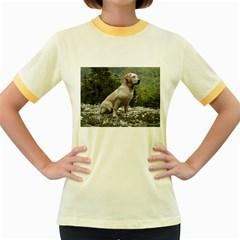 Yellow Lab Sitting Women s Fitted Ringer T-Shirts