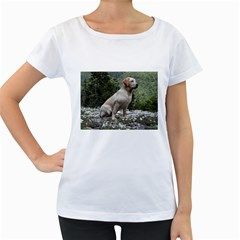 Yellow Lab Sitting Women s Loose-Fit T-Shirt (White)