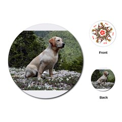 Yellow Lab Sitting Playing Cards (Round)