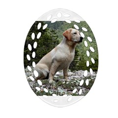 Yellow Lab Sitting Oval Filigree Ornament (2 Side)