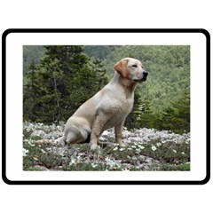 Yellow Lab Sitting Double Sided Fleece Blanket (Large)