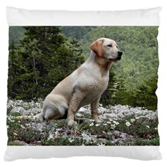 Yellow Lab Sitting Large Flano Cushion Cases (One Side)