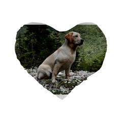 Yellow Lab Sitting Standard 16  Premium Flano Heart Shape Cushions