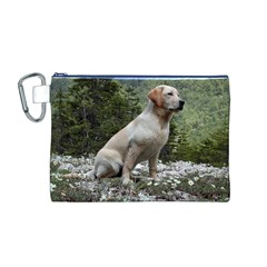 Yellow Lab Sitting Canvas Cosmetic Bag (M)