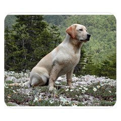 Yellow Lab Sitting Double Sided Flano Blanket (Small)