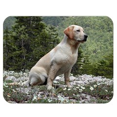 Yellow Lab Sitting Double Sided Flano Blanket (Medium)