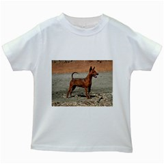 Min Pin Full Kids White T-Shirts