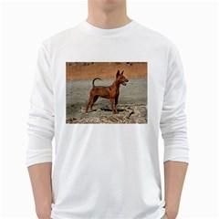 Min Pin Full White Long Sleeve T-Shirts