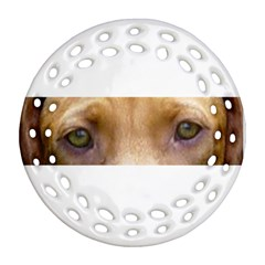 Vizsla Eyes Round Filigree Ornament (2side)