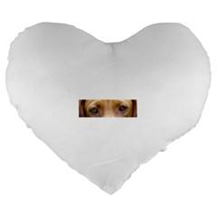 Vizsla Eyes Large 19  Premium Flano Heart Shape Cushions