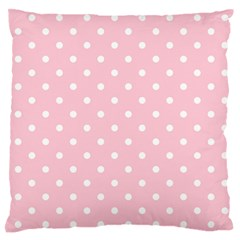 Pink Polka Dots Large Flano Cushion Cases (one Side)
