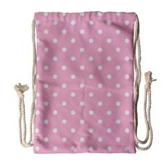 Pink Polka Dots Drawstring Bag (Large)