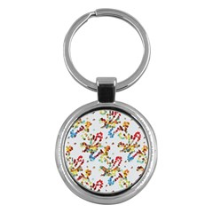 Colorful Paint Strokes Key Chain (round)
