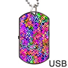 Swirly Twirly Colors Dog Tag USB Flash (Two Sides)