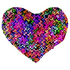 Swirly Twirly Colors Large 19  Premium Flano Heart Shape Cushions