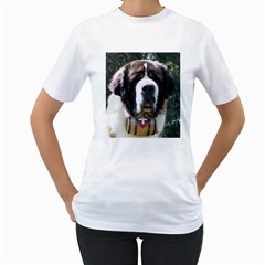 St Bernard Women s T-Shirt (White) (Two Sided)