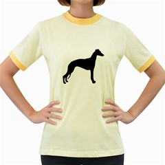 Whippet Silhouette Women s Fitted Ringer T-Shirts