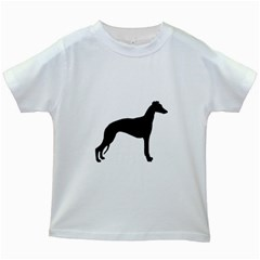 Whippet Silhouette Kids White T-Shirts
