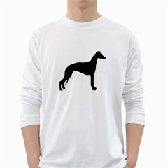 Whippet Silhouette White Long Sleeve T-Shirts