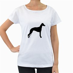 Whippet Silhouette Women s Loose-Fit T-Shirt (White)