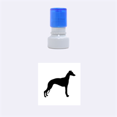 Whippet Silhouette Rubber Round Stamps (Small)