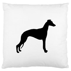 Whippet Silhouette Large Flano Cushion Cases (One Side)