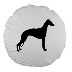 Whippet Silhouette Large 18  Premium Flano Round Cushions