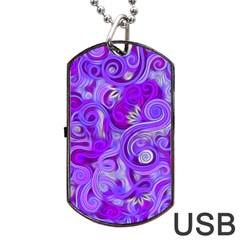 Lavender Swirls Dog Tag USB Flash (One Side)