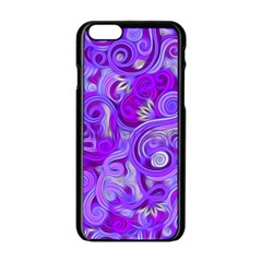 Lavender Swirls Apple Iphone 6 Black Enamel Case